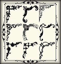 Vintage design elements corners vector image