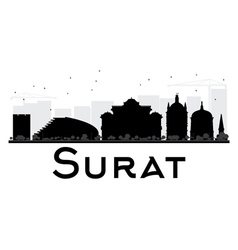Surat city skyline black and white silhouette vector