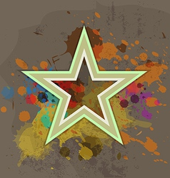 Retro star with ink splash on grunge background vector