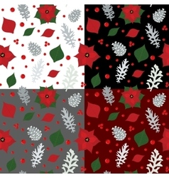 Christmas seamless pattern with holly berry vector
