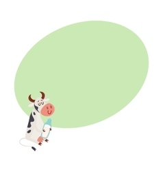 Black and white spotted cow sitting holding glass vector