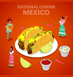 Isometric mexico national cuisine with tacos vector