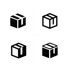 Box icons set 4 item vector