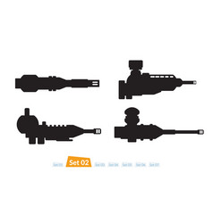 Set of spaceship weapons silhouette two vector