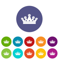 Little crown icons set flat vector