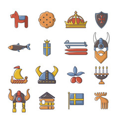 Sweden travel icons set cartoon style vector