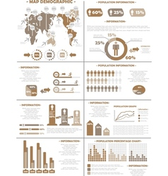 Infographic demographics population 3 brown vector