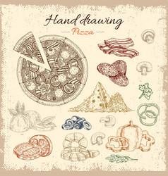 pizza hand drawn elements set vector image