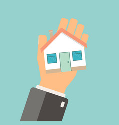 Real estate concept agent holding home buing vector