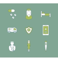 Set of medical icons healthcare system concept vector