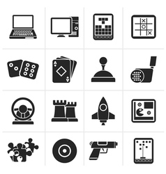Silhouette computer games tools and icons vector