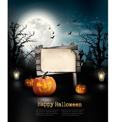 Scary Halloween background with a wooden sign vector image