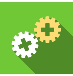 Medical gears flat long shadow square icon vector