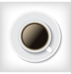 Top view cup of coffee isolated on white vector