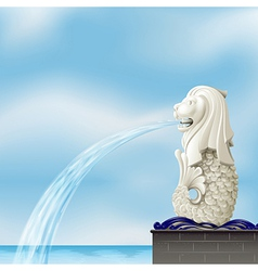 A white merlion vector