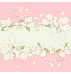 Apple blossom frame background vector image vector image