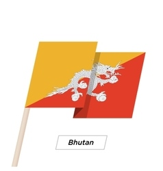 Bhutan ribbon waving flag isolated on white vector