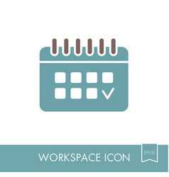 calendar outline icon workspace sign vector image vector image