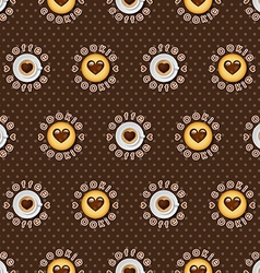 cappuccino cup and cookie background vector image vector image