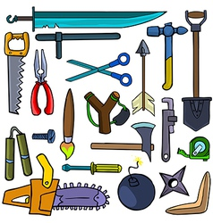 Cartoonish tools and weapons vector image