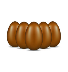 Chocolate eggs standing in formation vector