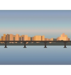 City Skyline cityscape bridge building sunset vector image