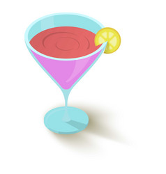 cocktail with a slice of lemon icon vector image