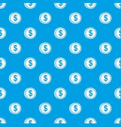 coin dollar pattern seamless blue vector image