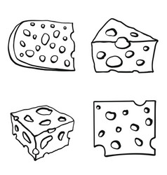 color set of cheese vector image