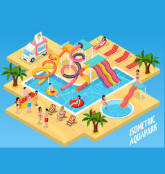 Colored water park aquapark isometric composition vector