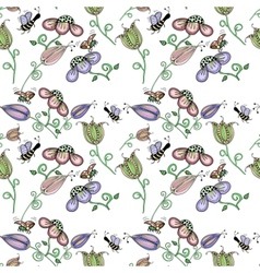 Cork background of flowers leaves bees and vector image