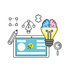 Creative process with ideas icons design vector
