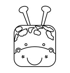 Cute giraffe animal head expression vector