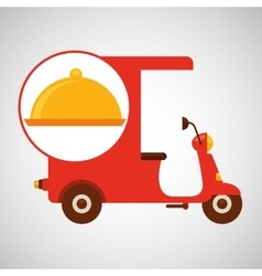 Delivering motorcycle food platter vector
