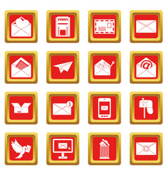 email icons set red vector image