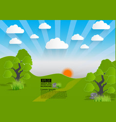green landscape mountain with trees and clouds vector image vector image