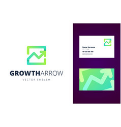 growing chart logo and business card template vector image vector image