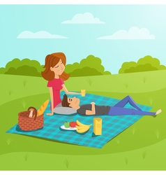 Happy couple having picnic in the park vector