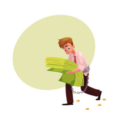 Man carrying bundle of banknotes in his hands vector