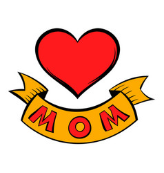 Mothers day heart with ribbon icon cartoon vector