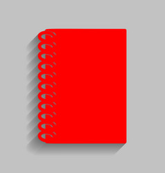 notebook simple sign red icon with soft vector image vector image