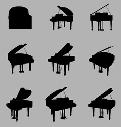 piano silhouette vector image vector image