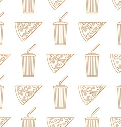 pizza slice soda cold drink paper cup outline vector image