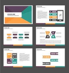 Purple orange green presentation templates set vector image vector image