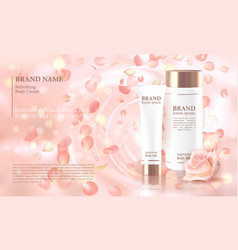 rose flower extract cosmetic ads template vector image