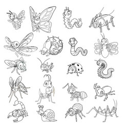 Set of Funny Insects Cartoon Character Line Art vector image vector image