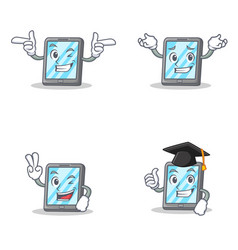 Set of tablet character with wink grinning two vector