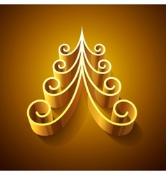 Shining golden 3d christmas tree vector image