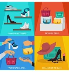 Square fashion accessories icon set vector