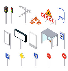 street objects set isometric view vector image vector image